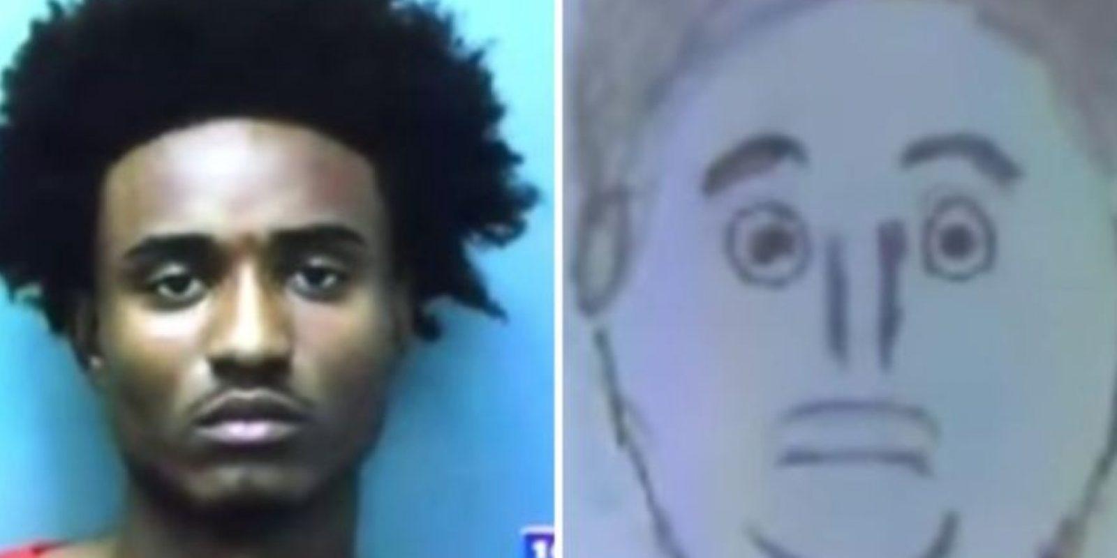 Este fue el dibujo del testigo. A continuación podrán conocer más retratos hablados que no se parecen tanto a los criminales. Foto:Vía Youtube