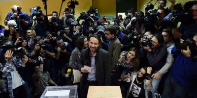 """Pablo Iglesias, candidato de """"Podemos"""" a la presidencia del Gobierno, aseguró que esta es una noche histórica para su partido. Foto:AFP"""