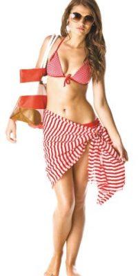"""TRIÁNGULO INVERTIDO. Hombros anchos y cintura estrecha. Te recomendamos que busques un bikini con la parte de abajo que destaque las caderas. Si usas una calzoneta, utiliza estampados grandes. Tu busto y espalda deben lucir lo más discretos posible; puedes utilizar tonos lisos o bloques de color.Tip: El complemento perfecto de cualquier traje de baño es una """"salida"""", combínalo con tu favorito. Foto:Fuente Externa"""