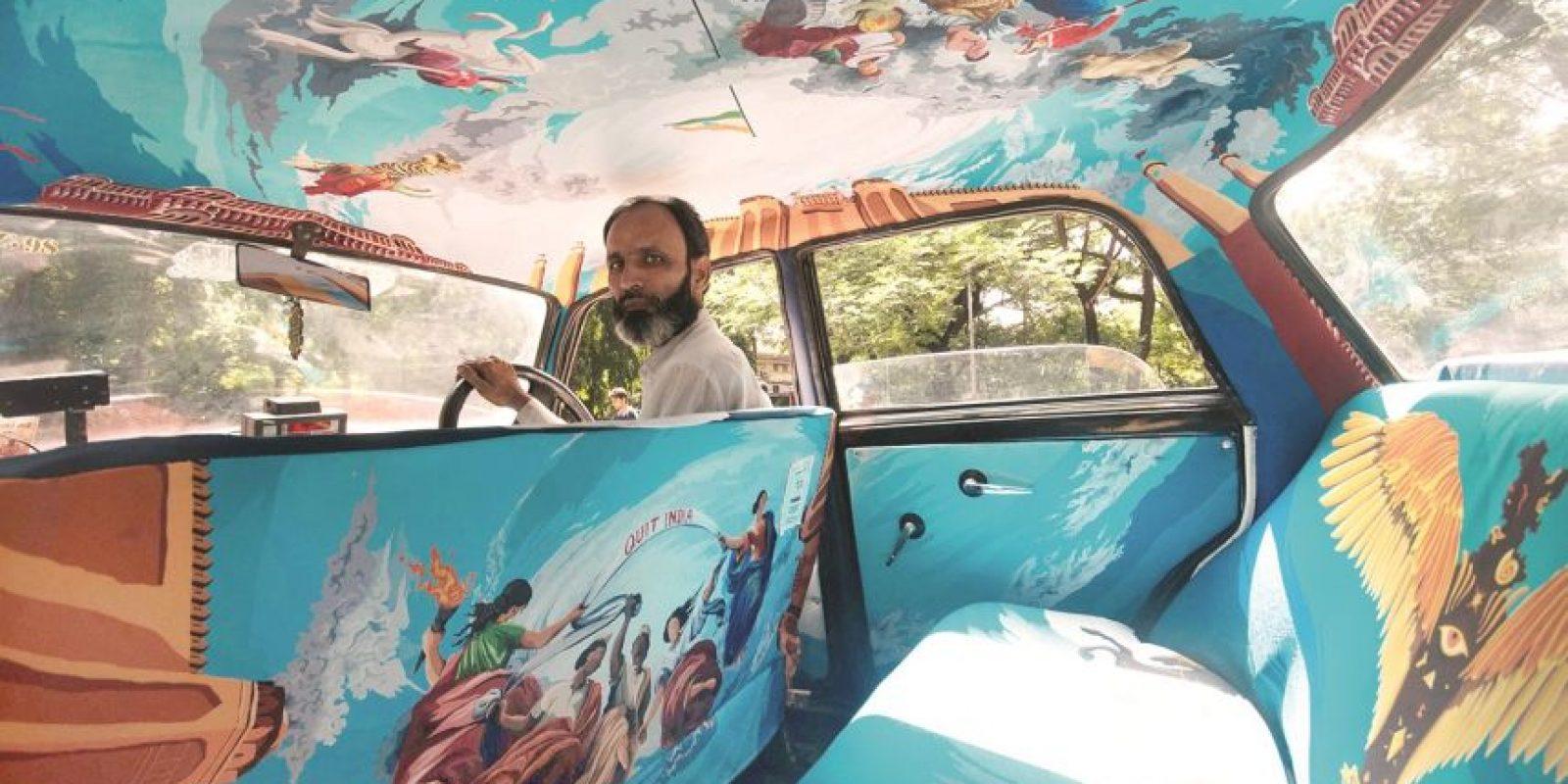 7- Proyecto. Enchula mi taxi, al estilo Mumbai. El proyecto Taxi Fabric en Mumbai, India, vio a un grupo de artistas llevar el arte a la tapicería de carros mediante la mejora del interior de los taxis de la ciudad con creativos e intrincados diseños tejidos. Foto:Taxi Fabric