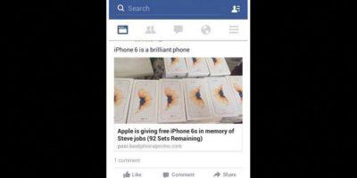 A mediados de octubre, prometieron regalar un iPhone 6s en memoria de Steve Jobs. Foto:Vía Facebook