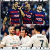 """Con los goles de hoy, la """"BBC"""" ya supera a la """"MSN"""". Foto:memedeportes.com"""