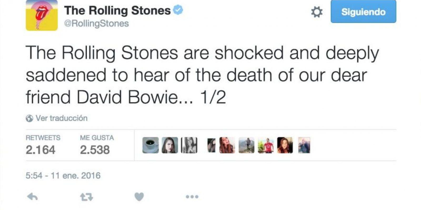 """The Rolling Stones: """"La banda está en shock y muy triste por la muerte de nuestro amigo David Bowie"""" (1/2) Foto:Twitter.com"""