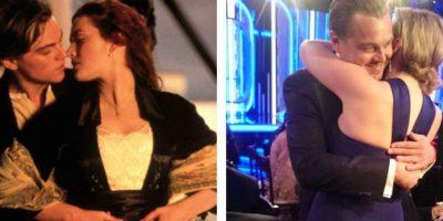 """Leonardo DiCaprio y Kate Winslet se abrazan como en """"Titanic"""""""