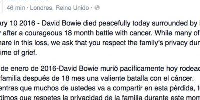 Llevaba 18 meses en esa batalla. Su página oficial de Facebook lo confirmó. Foto:vía Facebook/David Bowie