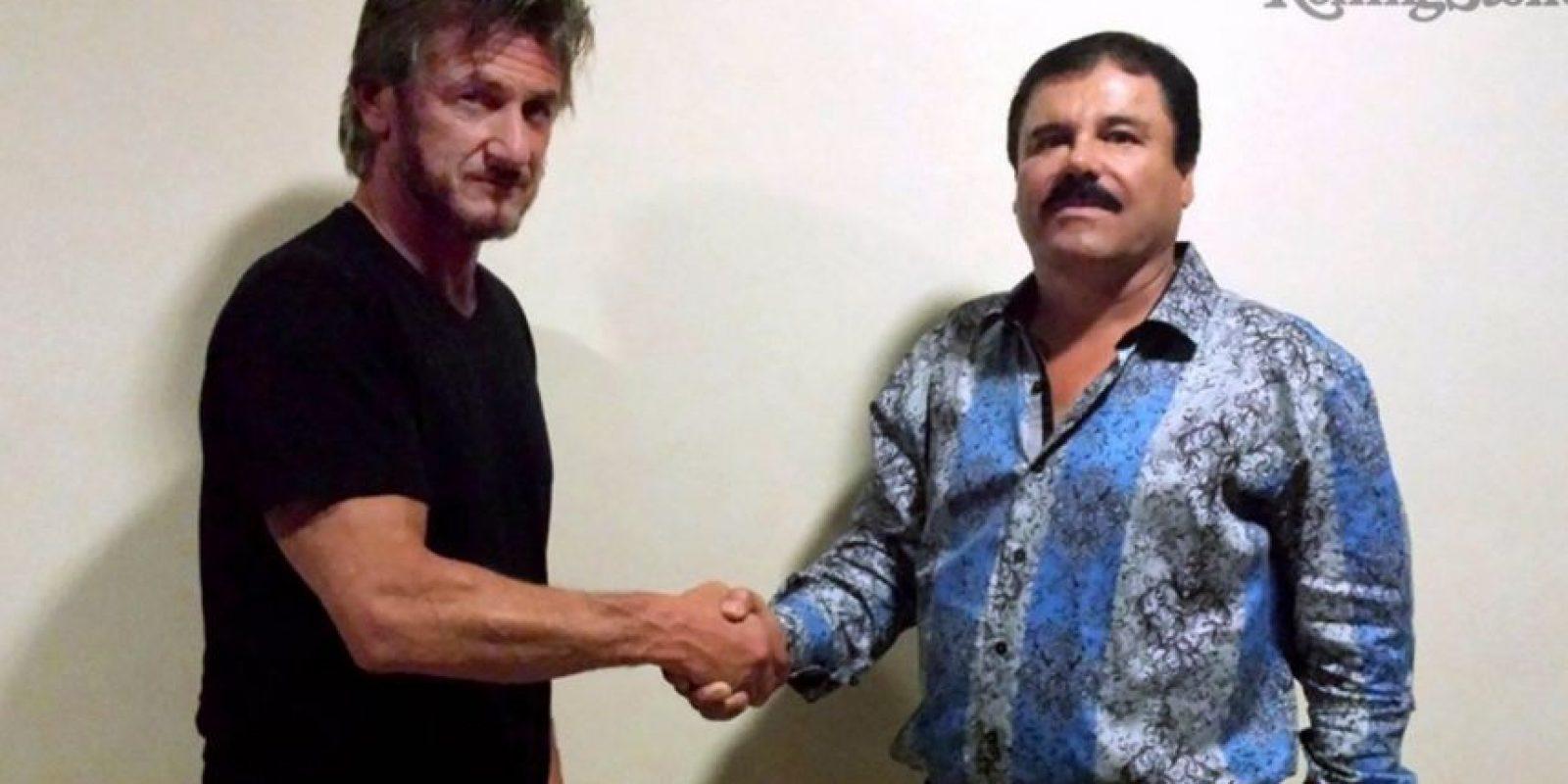 """Sean Penn y """"El Chapo"""" durante su único encuentro formal. Foto:vía twitter.com/RollingStone"""