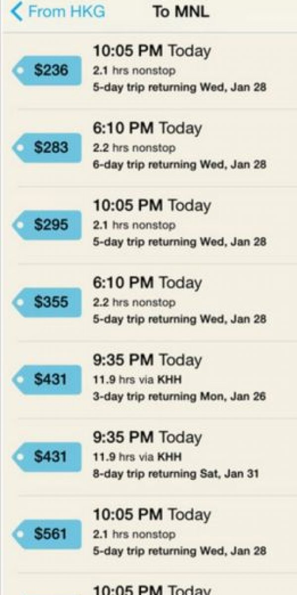Ideal para viajes de emergencia debido a que muestra vuelos que salen en dos horas o hasta 24 horas después de que la consultan. GTFO monitorea tarifas encontradas por agentes de viajes de último minuto en viajes redondos. Lo único que deben hacer es introducir el aeropuerto de origen y destino, comparar precios, elegir el que más se adapte a sus necesidades y reservar desde la app. Foto:Hopper