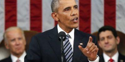 """""""Estados Unidos es el país más poderoso del mundo. Punto."""", dijo Obama, al referirse a su política exterior, tema importante dentro del discurso. Foto:vía AFP"""