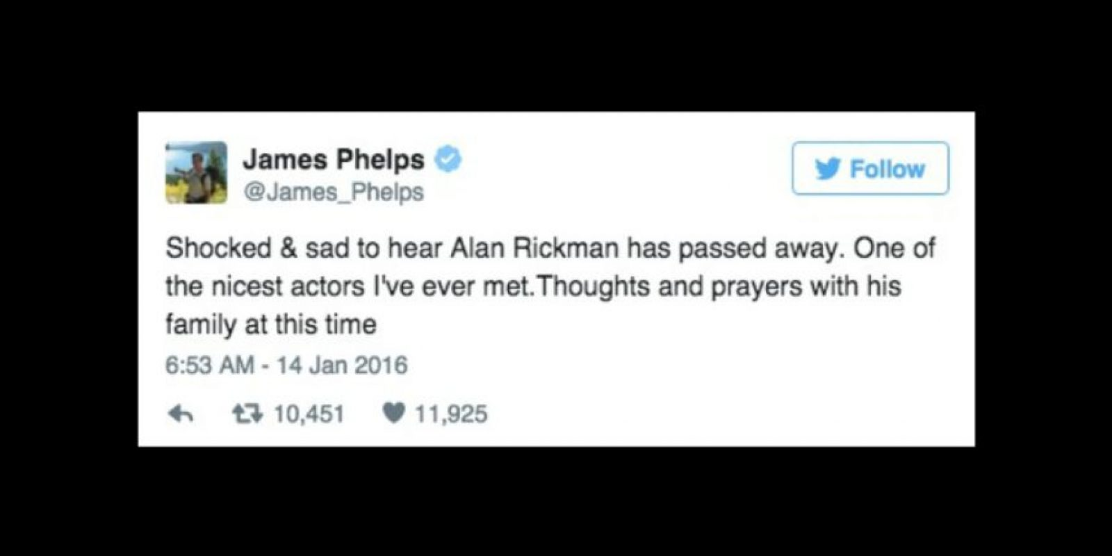 """""""Conmocionado y triste de escuchar que Alan Rickman ha fallecido"""" Foto:Twitter/James_Phelps"""