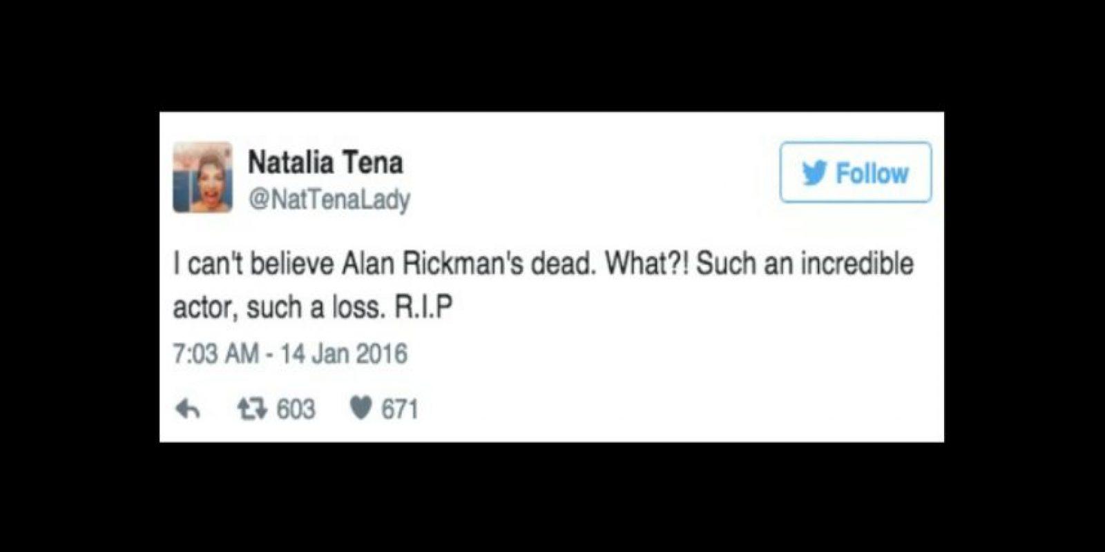 """""""No puedo creer que Alan Rickman esté muerto"""" Foto:Twitter/NatTenaLady"""