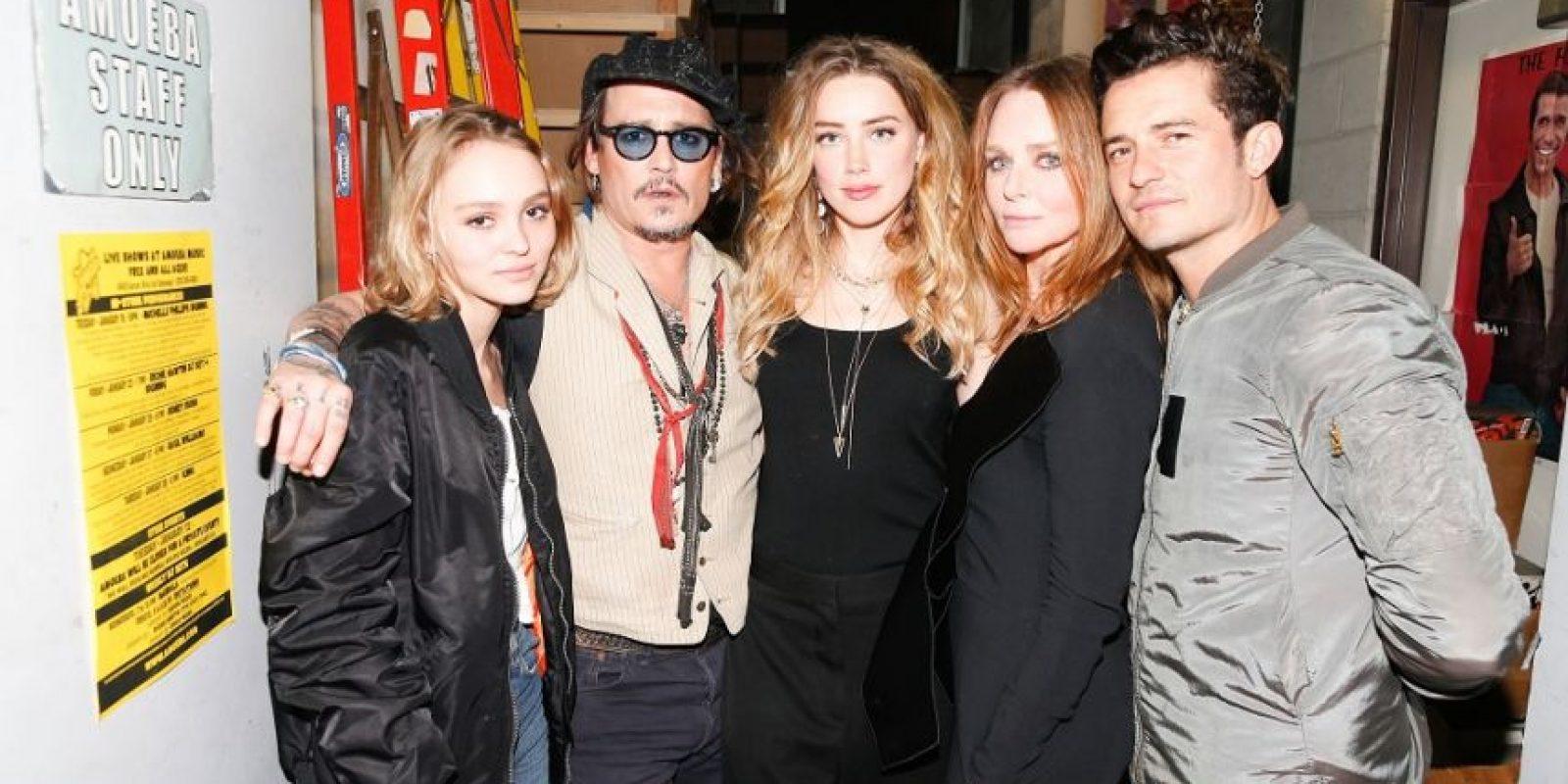 Lily Rose Depp, Johnny Depp, Amber Heard, Stella McCartney y Orlando Bloom. Foto:Fuente Externa