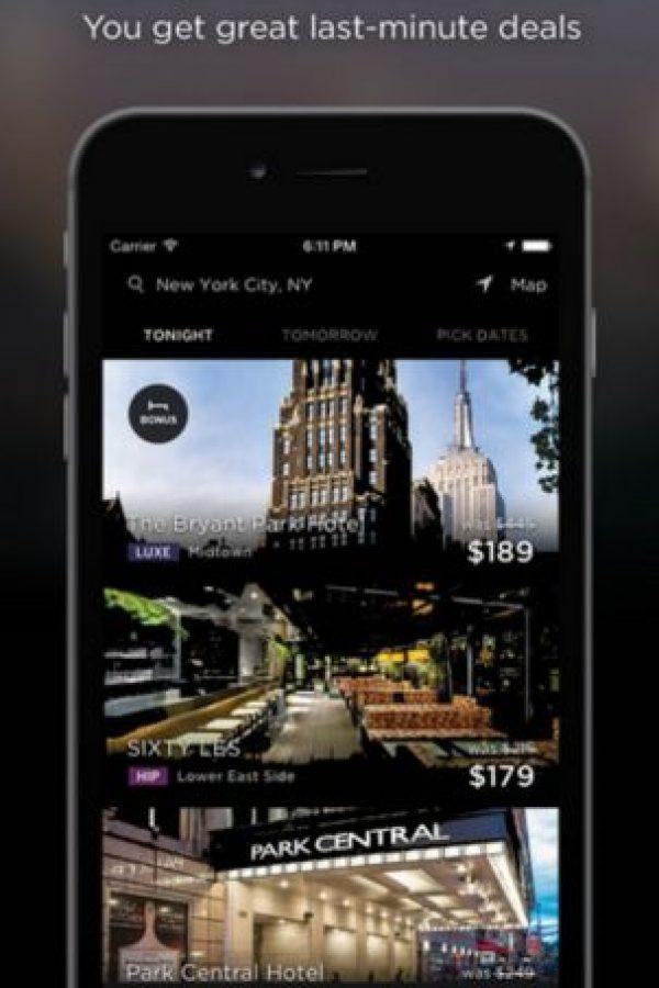 Cuando llega la noche con esta app pueden encontrar habitaciones de hotel para el mismo día sin necesidad de reservación previa y precios con descuentos. Todo en menos de 10 segundos, tres clics y una confirmación. Foto:Hotel Tonight Inc