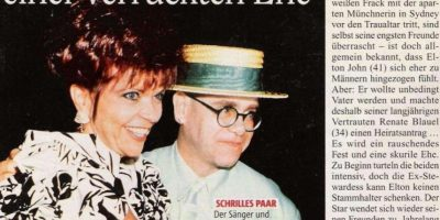 Elton John se casó con la ingeniera de sonido alemana Renata Blauel en 1984. El matrimonio duró solo cuatro años. Foto:vía Tumblr