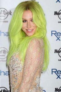 8. La cantante Kesha y su cabello lima Foto:Getty Images