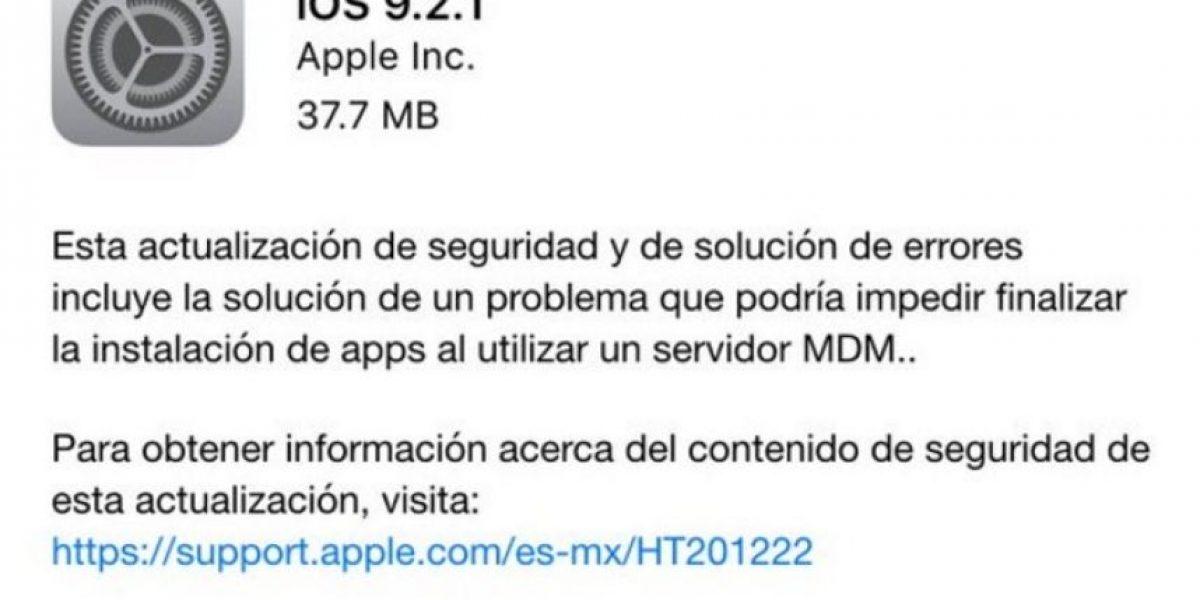 Apple libera iOS 9.2.1, la nueva versión de su sistema operativo