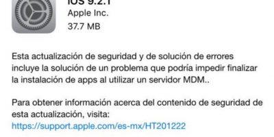iOS 9.2.1 ya está disponible. Foto:vía Twitter.com