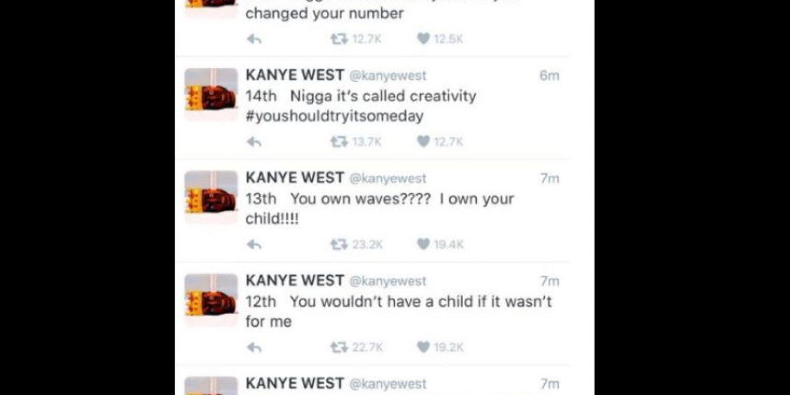 """West perdió el control y le dijo que si no fuera por él, Amber Rose no habría tenido a su hijo (entre otras cosas la llamó stripper). También habló de sus pantalones, para terminar diciendo que interrumpió """"su proceso creativo"""". Foto:vía Twitter"""