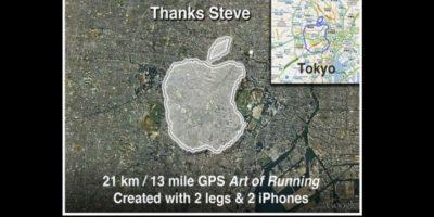 Esta obra fue creada con dos iPhone con GPS. Foto:Vía Tumblr.com