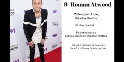 9- Roman Atwood: 2.5 millones de dólares. Foto:Especial / Getty Images