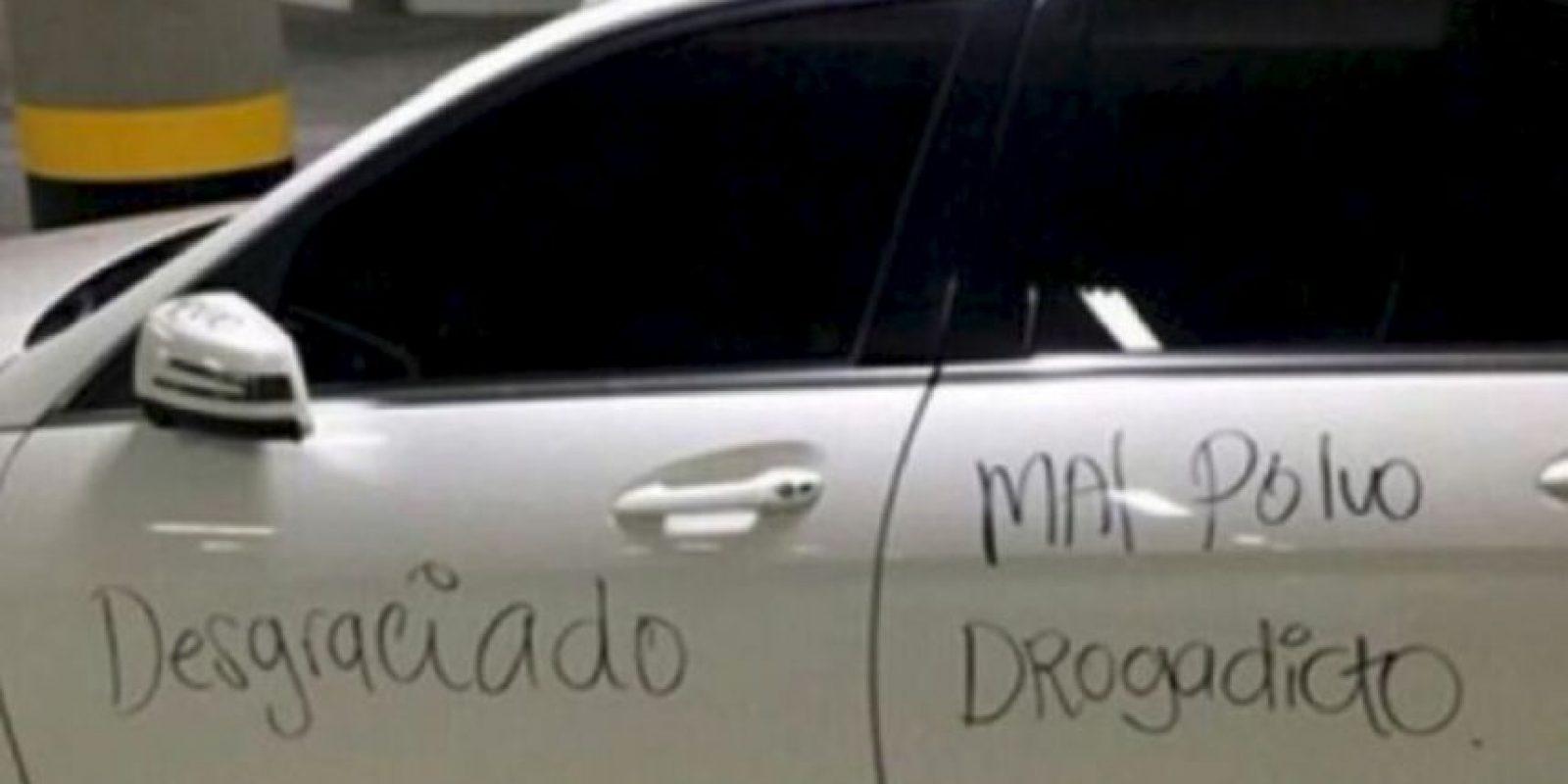 La colombiana que escribió esto en el auto de su marido. Foto:vía Twitter