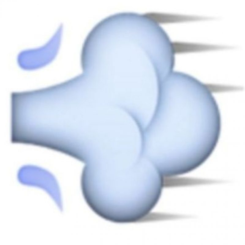 3. Usado para representar fratulencias, en realidad es una ráfaga de aire que representa el movimiento rápido de una persona o un objeto. Foto:Vía emojipedia.org