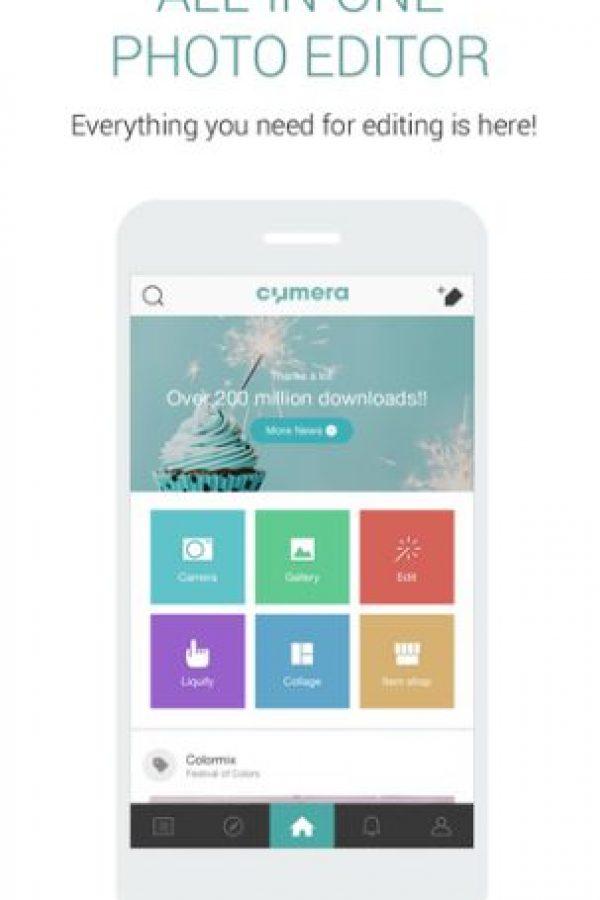 2- Cymera-Collage & Filters. Tiene 15 filtros en vivo, siete lentes de cámara y compatibilidad con selfie stick. Para retocar las fotos, pueden cambiar el brillo, contraste, cortar, rotar y hacerlas en mosaico, además de agregar uno de los 100 filtros disponibles, función de colaje, pegatinas, diversos estilos de calígrafo, textos y fuentes.Disponible para iOS y Android.