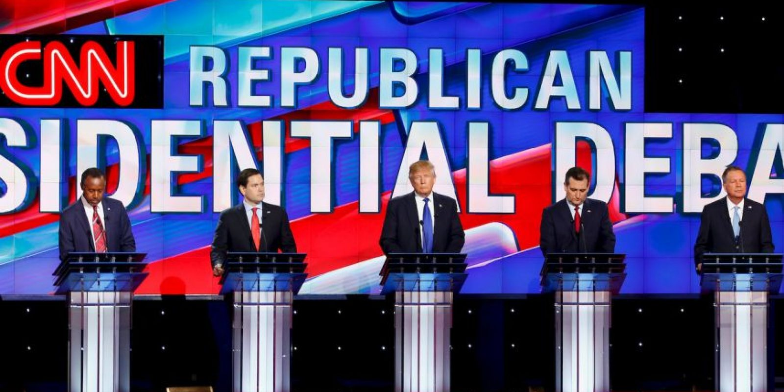 Ben Carson, Marco Rubio, Donald Trump, Ted Cruz y John Kasich Foto:AFP