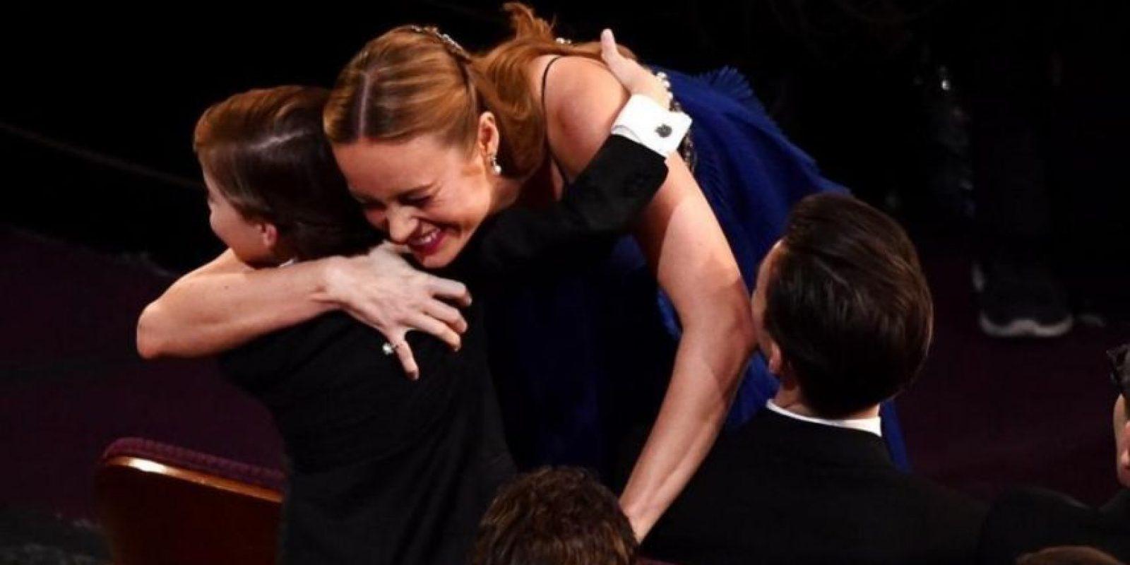 2- Un abrazo poderoso: La reacción de la actriz de Room Brie Larson al ser anunciada ganadora, y su abrazo a Jacob Tremblay. Foto:Fuente Externa