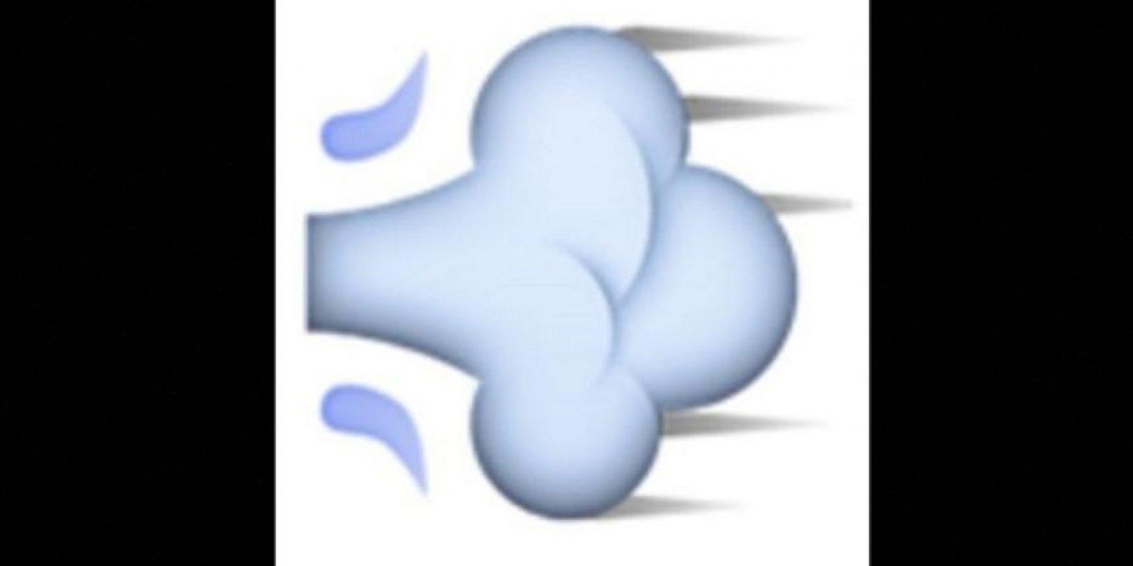 4. Usado para representar flatulencias, en realidad es una ráfaga de aire que representa el movimiento rápido de una persona o un objeto. Foto:vía emojipedia.org