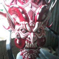 Careta de doble cara con colores rojo y blanco. Foto:Cortesía de Los Rankeaos