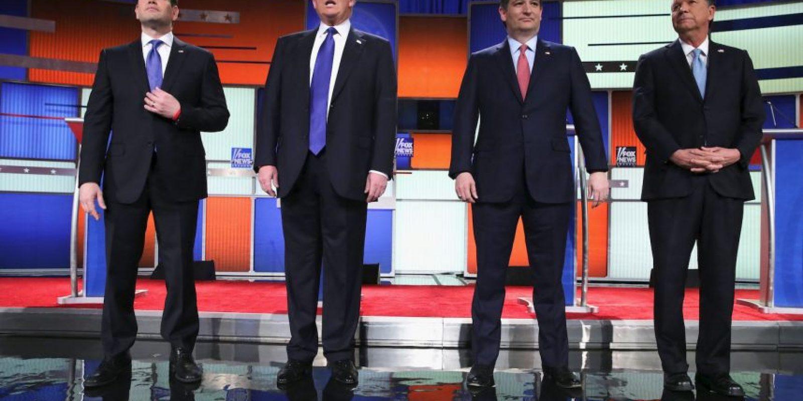 Los precandidatos que se presentaron al debate: Marco Rubio, Donald Trump, Ted Cruz y John Kasich Foto:AP