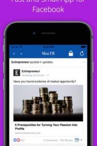 Mini for Facebook es una versión ultra ligera de Facebook, con un bloqueo automático cada vez que sales de la aplicación. Foto:surendra kumar