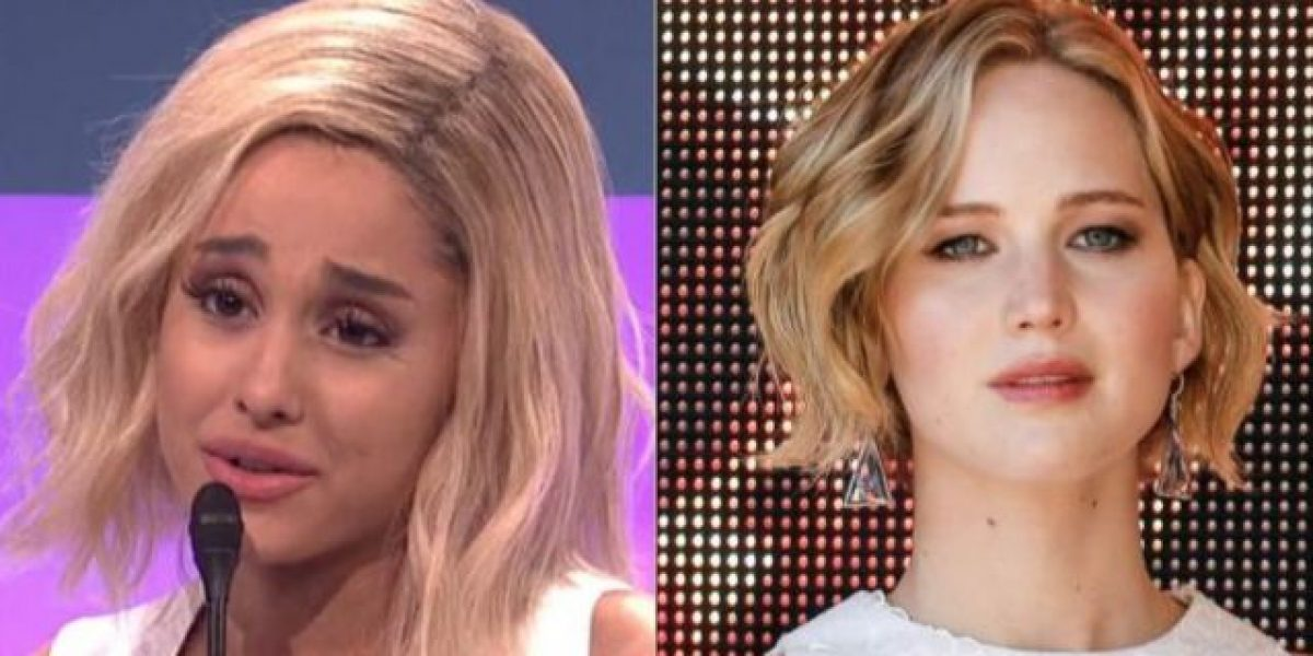Ariana Grande imitó a Jennifer Lawrence en