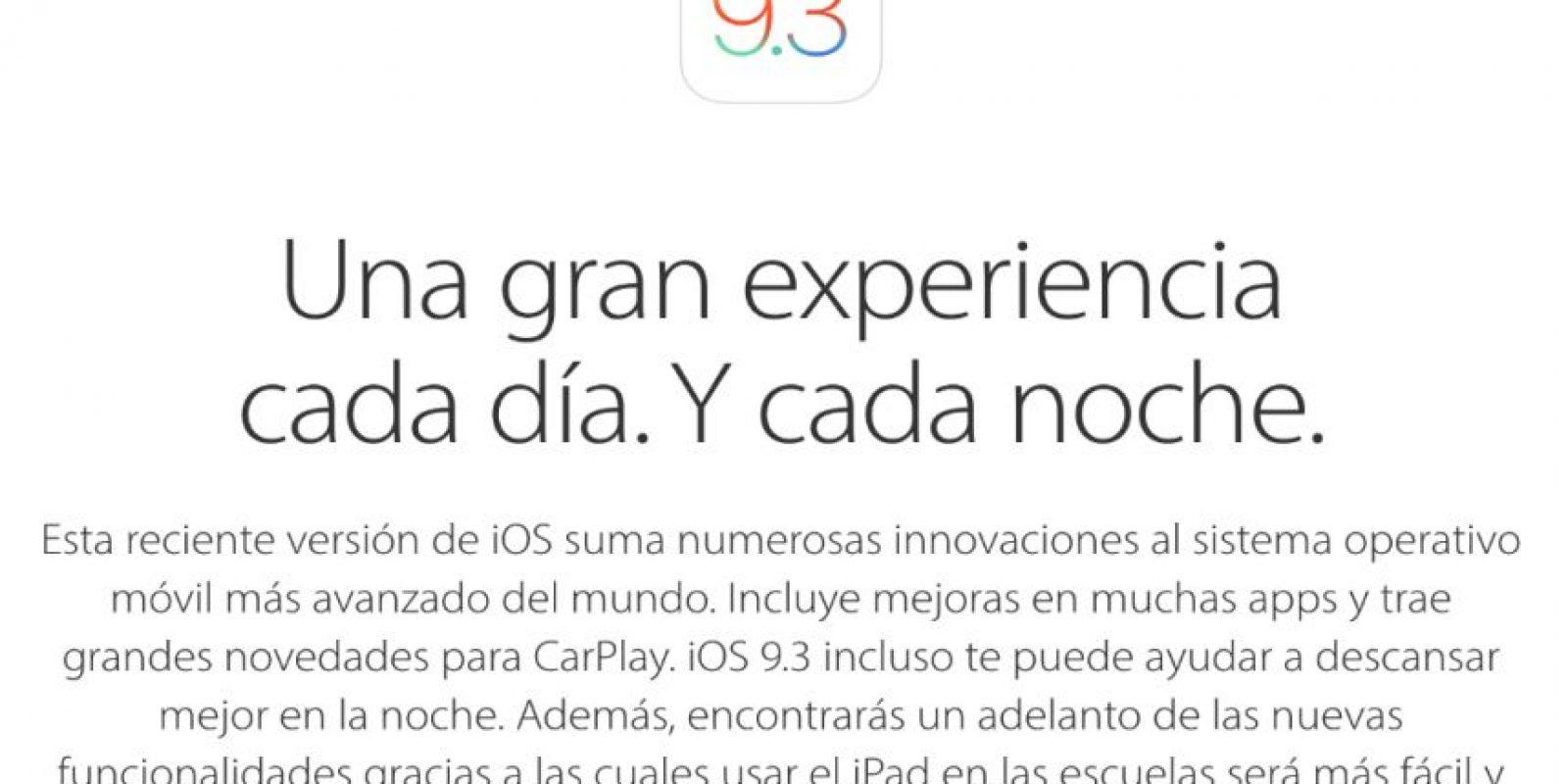 El pasado lunes 21 de marzo Apple presentó el nuevo iOS 9.3. Foto:Apple