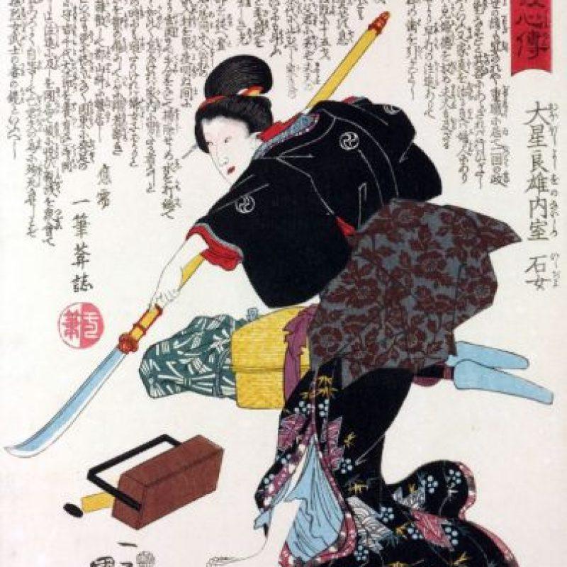 Esta es una descripción mucho más fidedigna de la guerrera (arte de la época Edo). Foto:vía Wikipedia