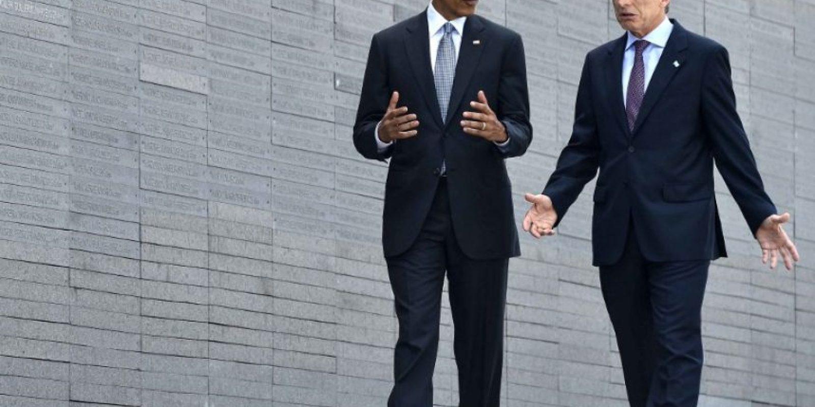 El presidente Macri y Obama recorrieron el Parque de la Memoria Foto:AFP