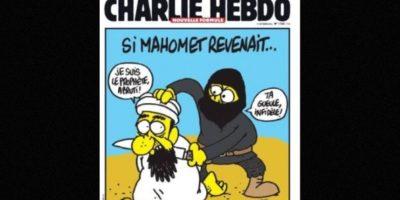 En esta imagen, un yihadista se muestra decapitando al propio profeta Mahoma. Foto:Charlie Hebdo