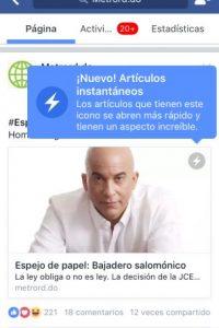 Captura de pantalla de cómo se ven las noticias en Instant Articles Foto:MetroRD