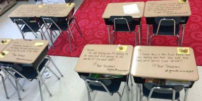 Fotos: Maestra se vuelve viral por alentadores mensajes a alumnos