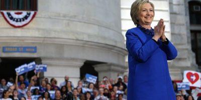 El azul es el color más usado en los trajes de Hillary. Foto:GETTY