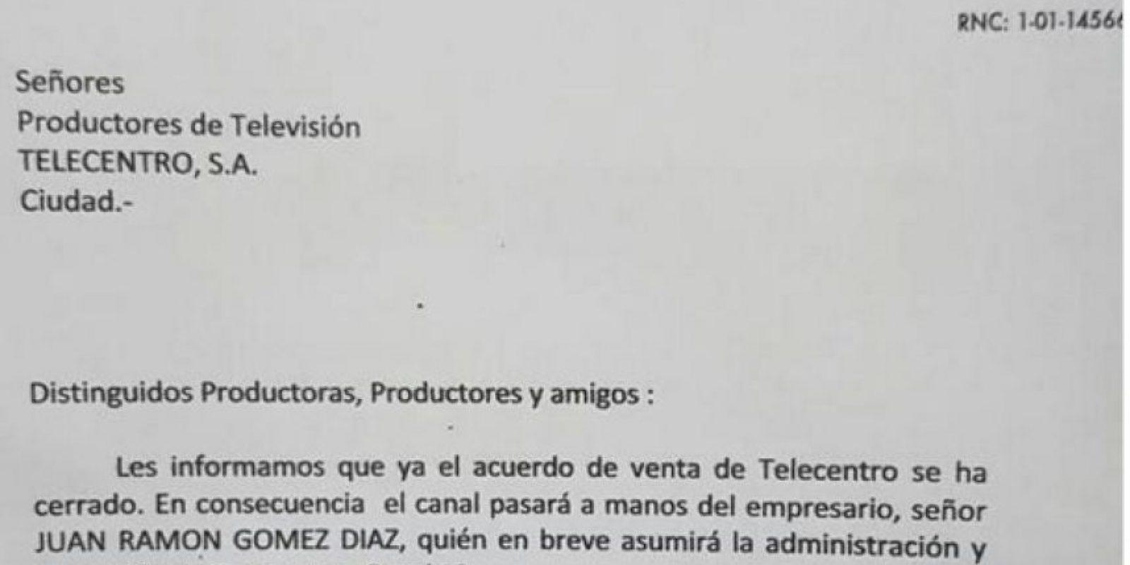 Carta enviada a los empleados de Telecentro Foto:Fuente Externa
