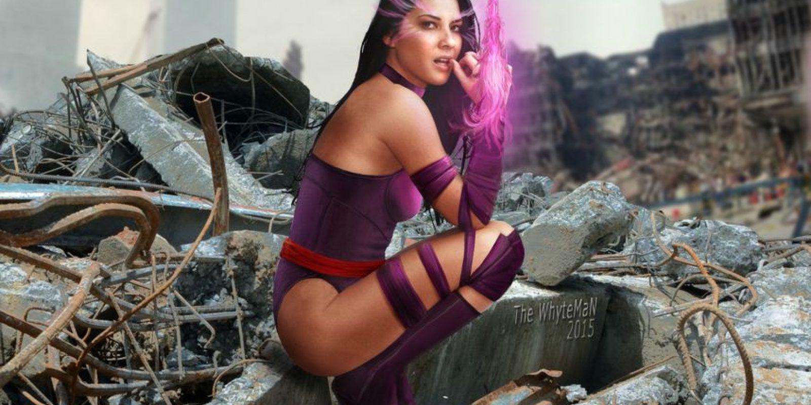 Psylocke (Olivia Munn). Puede leer mentes y proyectar sus pensamientos en la mente de otros. Generalmente los poderes de Psylocke se manifiestan en la forma de una mariposa color violeta sobre sus ojos.