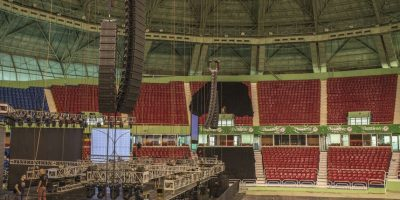 Montaje del concierto de Alejandro Sanz y su gira Sirope en el Palacio de los Deportes Foto:Fuente Externa