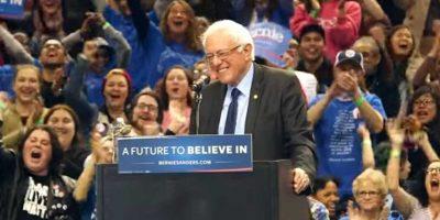La pequeña ave visitó al demócrata y provocó los aplausos y los gritos de los simpatizantes de Sanders. Foto:Reproducción