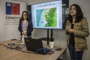 Claudia Poblete y Roxana Cuevas diseñaron una app que predice movimientos telúricos Foto:Conicyt