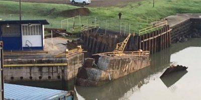 Derrumbe. Colapsó muro en una de las esclusas  del Canal de Panamá