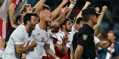 Así celebró Geogia su triunfo histórico sobre España, bicampeón de Europa Foto:Getty Images