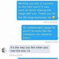Esta fue la conversación revelada por el hacker entre Taylor y Scott Foto:Perez Hilton