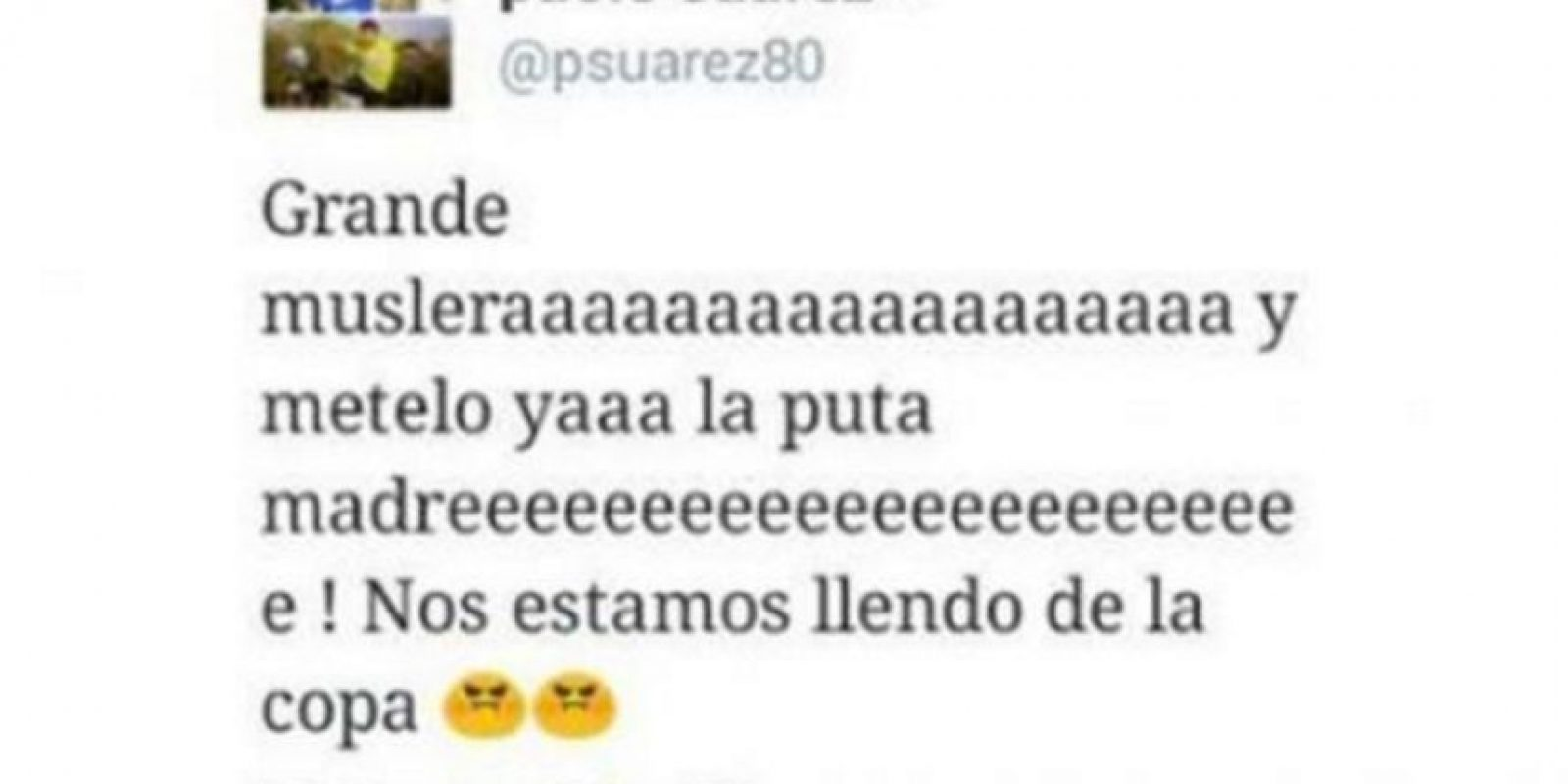 El hermano de Luis Suárez, Paolo, explotó en Twitter al ver a su hermano en la banca Foto:Captura de pantalla