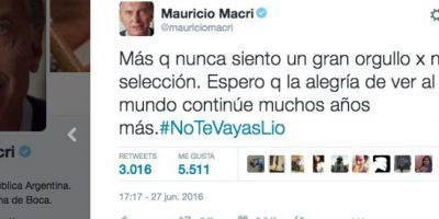 Incluso se sumó Mauricio Macri, presidente de Argentina Foto:Twitter.com